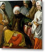 The Turkish Ambassador And His Entourage At The Court Of Naples Metal Print