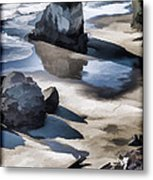 The Unexplored Beach Painted Metal Print