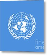 The United Nations Flag  Authentic Version Metal Print