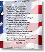 The U.s.a. Flag Poetry Art Poster Metal Print by Stanley Mathis