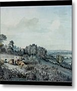 The Valley Of The Stour, Looking Towards East Bergholt, 1880 Pencil, Pen And Ink And Watercolour Metal Print