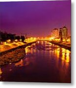 The Vardar River In Skopje At Night. Metal Print by Slavica Koceva