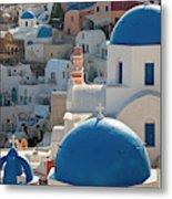 The Village Of Oia Santorini Cyclades Metal Print