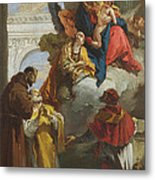 The Virgin And Child Appearing To A Group Of Saints Metal Print