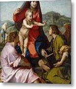 The Virgin And Child Between Saint Matthew And An Angel Metal Print