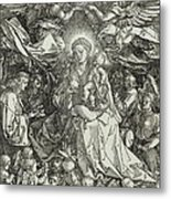 The Virgin And Child Surrounded By Angels Metal Print by Albrecht Durer or Duerer