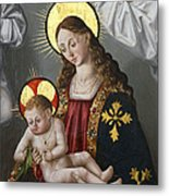 The Virgin And The Child With The Parrot Metal Print