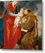 The Virgin Presents The Infant Jesus To Saint Francis Metal Print
