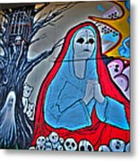 The Virgin Skeleton Adoring Metal Print by Andres Leon