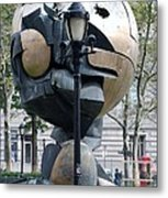 The W T C Plaza Fountain Sphere Metal Print