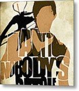 The Walking Dead Inspired Daryl Dixon Typographic Artwork Metal Print by Ayse Deniz