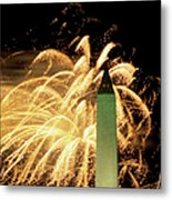 The Washington Monument And Fireworks Metal Print