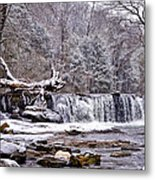 The Waterfall Near Valley Green In The Snow Metal Print