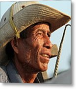 The Weathered Face Of An Ox Cart Driver Metal Print