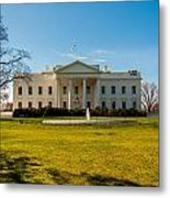 The White House In Washington Dc With Beautiful Blue Sky Metal Print