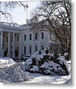 The White House In Winter Metal Print