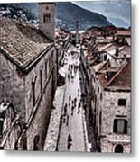 The White Tower In The Stradun From The Ramparts Metal Print