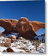 The Windows In Snow Arches National Park Utah Metal Print