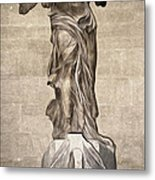 The Winged Victory Of Samothrace Marble Sculpture Of The Greek Goddess Nike Victory Metal Print