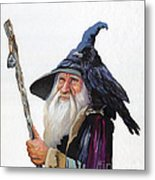 The Wizard And The Raven Metal Print by J W Baker