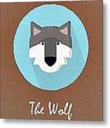 The Wolf Cute Portrait Metal Print