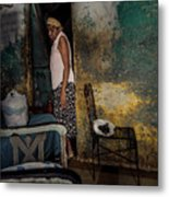 The Woman & The Cat Metal Print