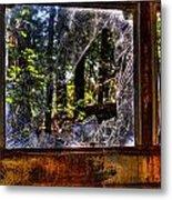 The Woods Through A School Bus Window Metal Print