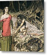 The Wooing Of Grimhilde The Mother Of Hagen From 'siegfried And The Twilight Of The Gods Metal Print by Arthur Rackham