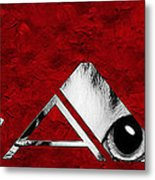 The Word Is Cat Bw On Red Metal Print