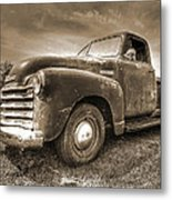 The Workhorse In Sepia - 1953 Chevy Truck Metal Print