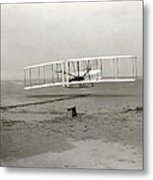 The Wright Brothers' First Powered Metal Print