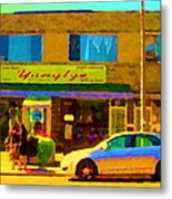 The Yangtze Chinese Food Restaurant On Van Horne Montreal Memories Cafe Street Scene Carole Spandau  Metal Print