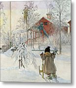 The Yard And Wash House Metal Print by Carl Larsson