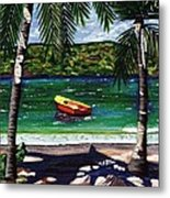 The Yellow And Red Boat Metal Print