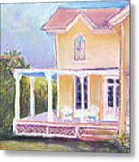 The Yellow Victorian By The Sea Metal Print