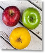 Thee Apples On A Table Metal Print