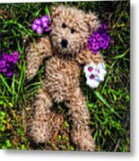 These Are For You - Cute Teddy Bear Art By William Patrick And Sharon Cummings Metal Print