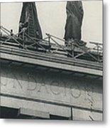 They Don't Like Them Any More; Peron Statues - Covered In Metal Print