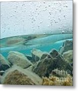 Thick Ice Sheet Underwater Over Rocky Lake Bottom Metal Print