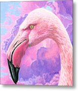 Think Pink Flamingo Metal Print