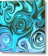 Turquoise  - Satin Swirls Metal Print