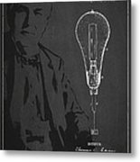 Thomas Edison Incandescent Lamp Patent Drawing From 1890 Metal Print