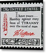 Thomas Jefferson American Credo Vintage Postage Stamp Print Metal Print