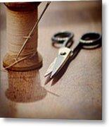 Thread And Scissors Metal Print