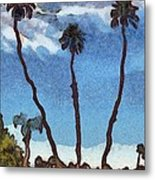 Three Abstract Palm Trees  Metal Print