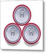 Three Aluminum Drink Cans Shadow Metal Print