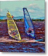 Three Amigo Windsurfers Metal Print by Joseph Coulombe