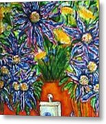 Blue Flowers Yellow And A Perfume Bottle Metal Print