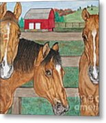 Three Beautiful Horses Metal Print