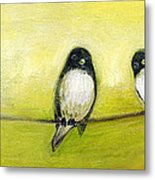 Three Birds On A Wire No 2 Metal Print